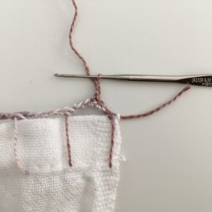 Crochet Edged Dish Towel Tutorial from Anne Weil of Flax & Twine