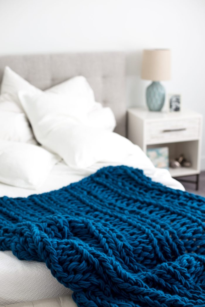 Free Chunky Arm Knit Ribbed Blanket Pattern Flax Amp Twine