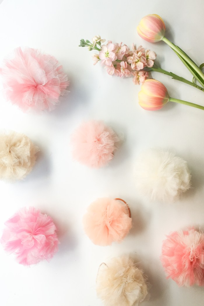 Easy DIY Tulle Pom Pom Hair Bands - Flax & Twine