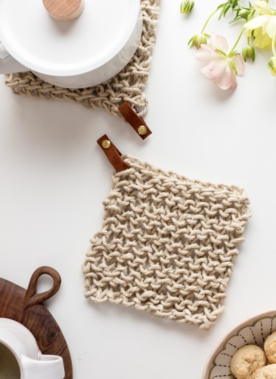 Knit Twine Potholder Pattern with Leather