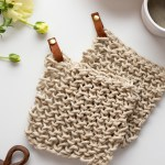 Knit Twine Potholder Pattern With Leather Flax Twine