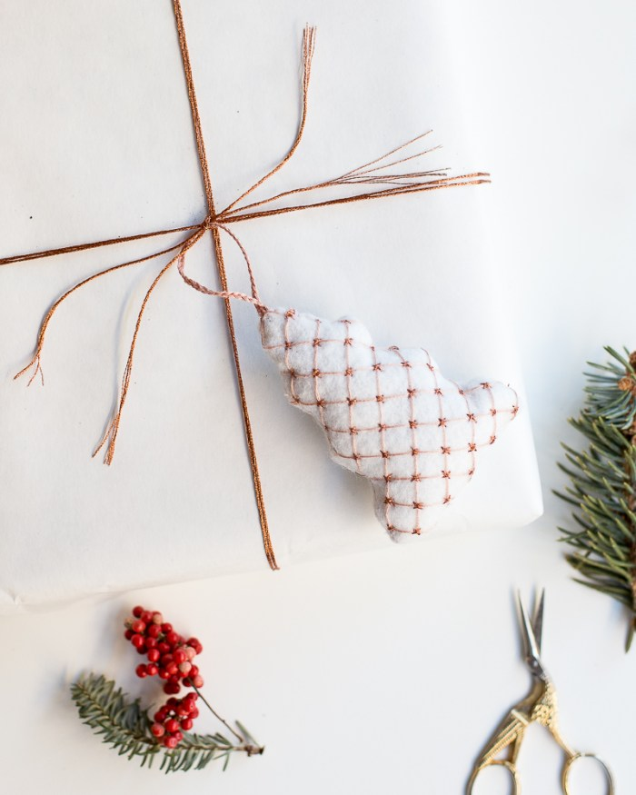 Embroidered Christmas Tree Ornament DIY by Anne Weil of Flax & Twine