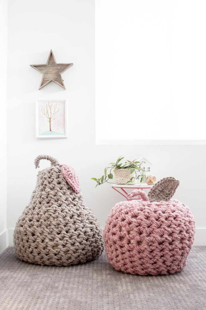 Giant Apple and Pear Poufs