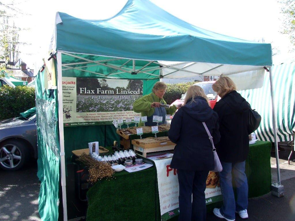 Flax Farm stall at Farnham farmers' market