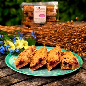 Mixed berry Linseed Flaxjacks luxury healthy gluten-free vegan flapjacks