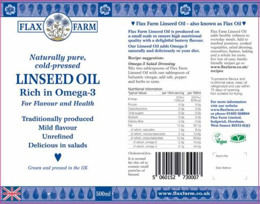 Nutritional information cold-pressed linseed flax oil