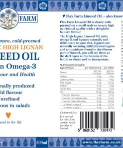 Flax Farm cold-pressed organic high lignan linseed oil label