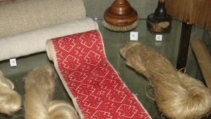 Traditional implements for linen production on display in Booth Pinezhsky Museum.