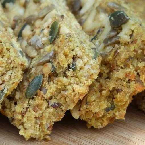 Cheese & carrot Flaxjacks lovely savoury gluten-free, wheat-free snacks.