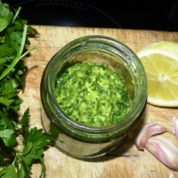 Gremolata with linseed (flax seed) oil healthy sauce with omega-3
