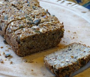 Gluten-free, low-carb paleo, nuts and seeds bread sliced