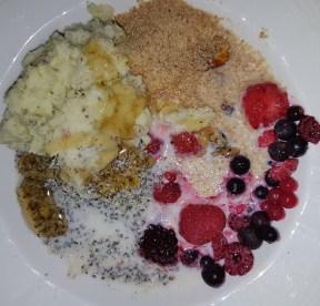Gluten-free, oat-free, linseed, flax healthy dairy-free paleo Bircher muesli