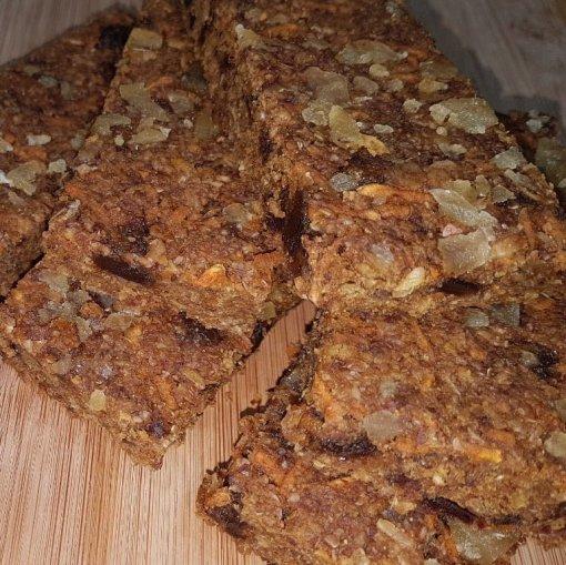 Gluten-free Sugar-free Ginger :Parkin Flapjack Linseed Flaxjack