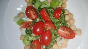 Linseed oil pesto with nettles basil, wild garlic