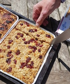 Cranberry Apple cinnamon luxury homemade flapjacks with linseed