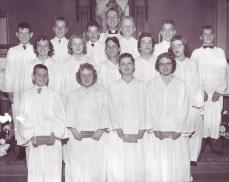 1958 1st row: Ed Matz, S. Oehlerking, S. Harris, M. Hedquist 2nd row: Karen Krumwiede, Beth Surber, Patty Helt, Sandra Miller, Myra Ebel