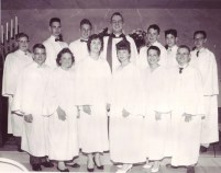 1959 1st row: Maurice Smith, Maxine Reed, Mona Bailey, Connie Anderson, Diane Suter, Donald Matney 2nd row: Eugene Flair, Alvin Levine, Clarence Francisco, Rev. Jensen, Rex Olson, Ernest Harrigfeld, Paul Madison