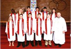 2013 1st row: Emily Fellin, Tanner Koeppe, Zachary Saunders, Logan Rahn, Spencer Leiting, Pastor Jerry Gilbreathcopyright Bobier Studio