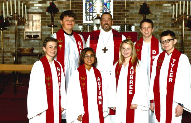 2018 First Row: Nathan Feenstra, Autumn Phommavong, Aubree Van Berkum, Tyler Fader. Second Row: Breck Swanson, Pastor Douglas Dill, Drew Benson. Not pictured: Michael Sigsbee