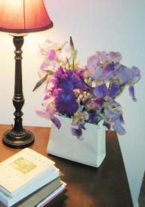 Jeanie's flower arrangement in an old purse