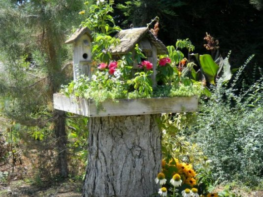Joy placed a wooden platform planted with flowers on this stump and set a couple very cute and rustic birdhouses on top.