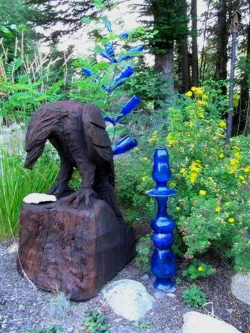 Kirk's cobalt blue totem, made from garage sale finds
