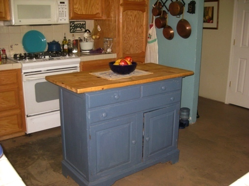 Grandma's hutch used as a kitchen island