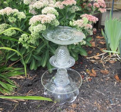 Garden totem birdbath