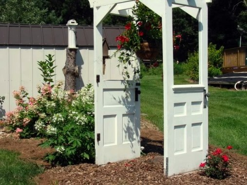 Back view of Jeanne Sammons' door arbor