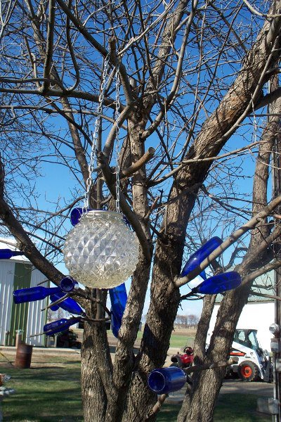 Sue Gerdes' fairy lights glows against a background of blue