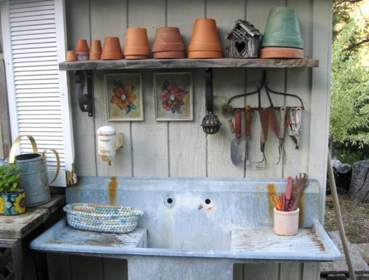 Organized tools in my potting area