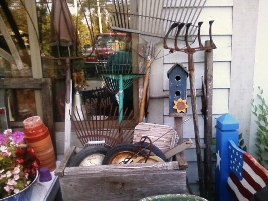 """Debbie Haer: """"The front of my building. Love old rusty tools have them everywhere."""""""