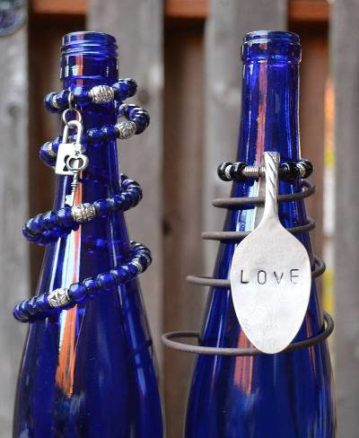 Marie's blue beaded spring bottles