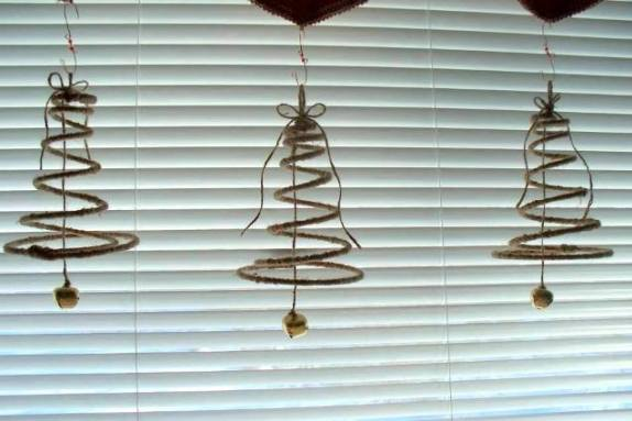 Sue wrapped some springs with twine Christmas tree bells