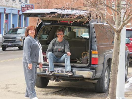 Tonya and Lisa as we prepare to load up all of the wonderful junkin shops downtown