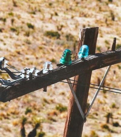 Insulators on a telephone pole
