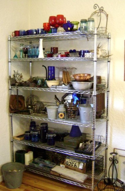 Marie Niemann's craft shelves after
