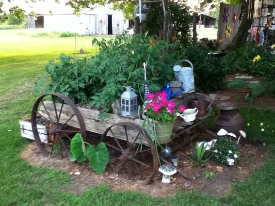 Jennifer Haut found and restored this old flower wagon