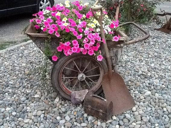 Melody West's rusty rustic garden cart is in the pink!