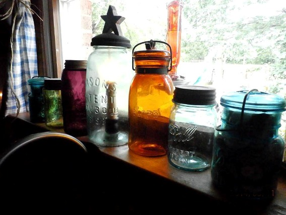 Connie Dee Schnecker's many vintage Mason jars