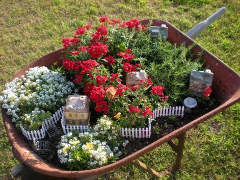 Billie's fairy wheelbarrow garden