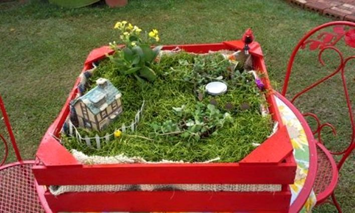 Fairy garden in a crate