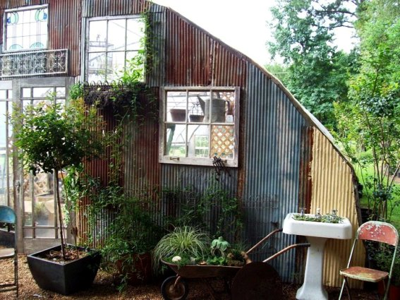 Kathy's 'industrial chic' begins to collect around the greenhouse