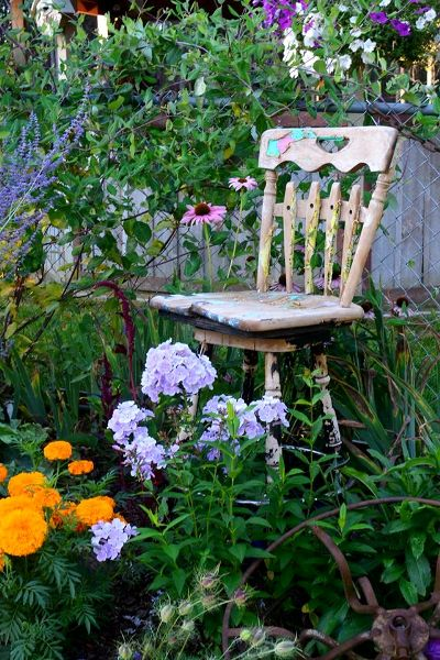 Rita Michalak Vintage chair as garden art