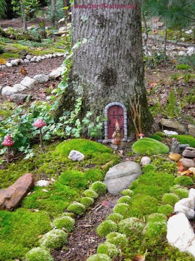 Anita Earnest creates a fairy abode in a tree