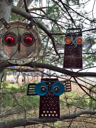 Found object owls to guard your garden Flea Market Gardening