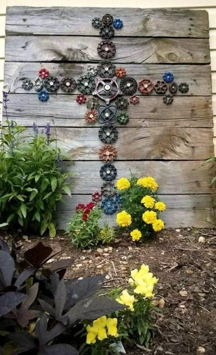 Tina's faucet art in the garden