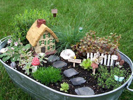 Arlene Brenneman Fairy cottage in a galvanized tub