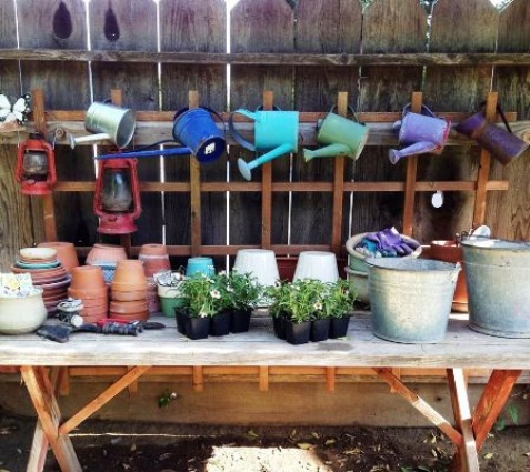 Jane Krauter painted her inexpensive watering cans