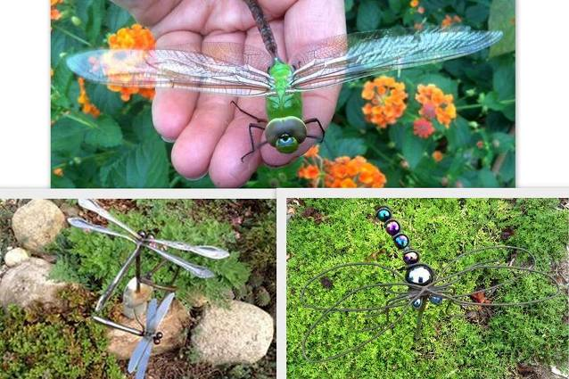 Dragonflies, real and artsy